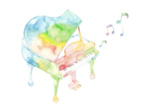 水彩画で描かれたピアノ
